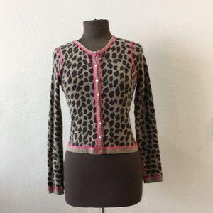 Aqua Cashmere Leopard Cardigan Black Gray Hot Pink